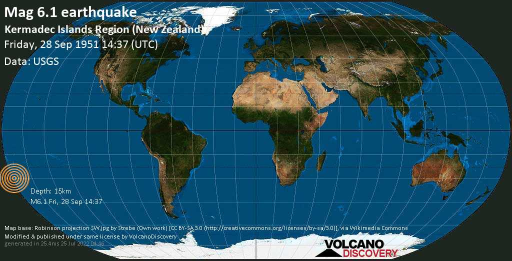 Strong mag. 6.1 earthquake  - South Pacific Ocean, 1506 km northeast of Wellington, New Zealand, on Friday, 28 September 1951 at 14:37 (GMT)