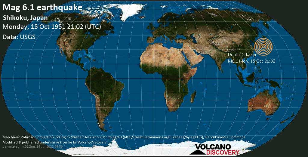 Very strong mag. 6.1 earthquake - Philippine Sea, 52 km southeast of Muroto-misakicho, Muroto Shi, Kochi, Japan, on Monday, October 15, 1951 at 21:02 (GMT)