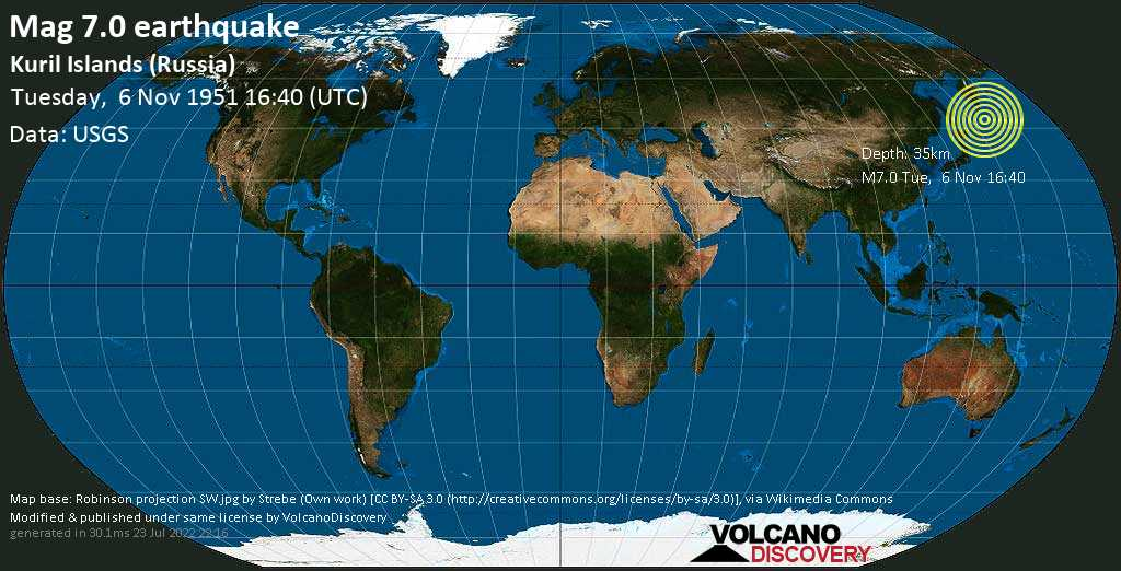 Major mag. 7.0 earthquake  - Kuril Islands (Russia) on Tuesday, 6 November 1951 at 16:40 (GMT)