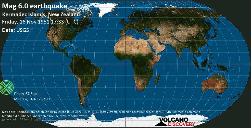 Strong mag. 6.0 earthquake - South Pacific Ocean, 31 km south of Sunday Island, New Zealand, on Friday, 16 November 1951 at 17:33 (GMT)