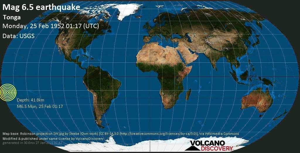Strong mag. 6.5 earthquake  - Tonga on Monday, 25 February 1952 at 01:17 (GMT)