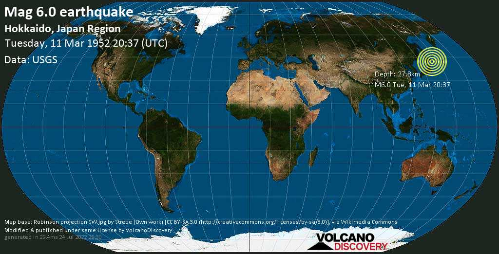Strong mag. 6.0 earthquake - North Pacific Ocean, 135 km south of Kushiro, Hokkaido, Japan, on Tuesday, 11 March 1952 at 20:37 (GMT)