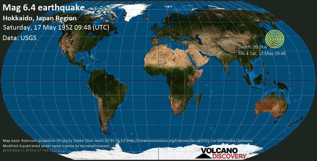 Strong mag. 6.4 earthquake  - North Pacific Ocean, 146 km south of Kushiro, Hokkaido, Japan, on Saturday, 17 May 1952 at 09:48 (GMT)
