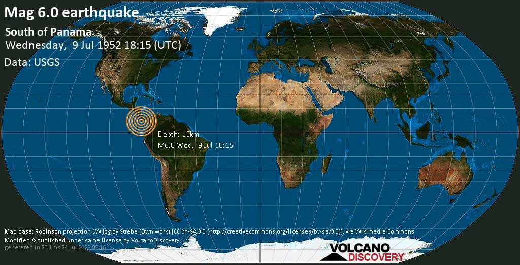 Very strong mag. 6.0 earthquake - North Pacific Ocean, 391 km southwest of Panama City, on Wednesday, July 9, 1952 at 18:15 (GMT)