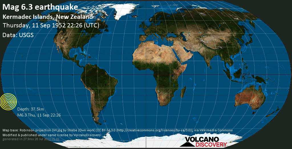 Strong mag. 6.3 earthquake  - South Pacific Ocean, 1480 km northeast of Wellington, Wellington City, New Zealand, on Thursday, 11 September 1952 at 22:26 (GMT)