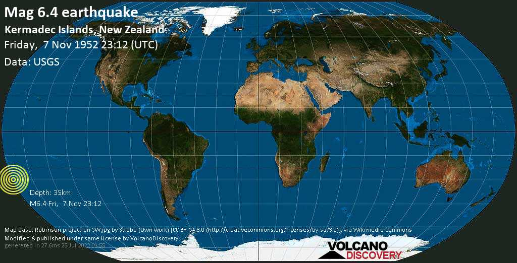 Strong mag. 6.4 earthquake  - South Pacific Ocean, 53 km south of Sunday Island, New Zealand, on Friday, 7 November 1952 at 23:12 (GMT)