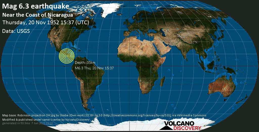 Strong mag. 6.3 earthquake  - North Pacific Ocean, 79 km southwest of Jiquilillo, Departamento de Chinandega, Nicaragua, on Thursday, 20 November 1952 at 15:37 (GMT)