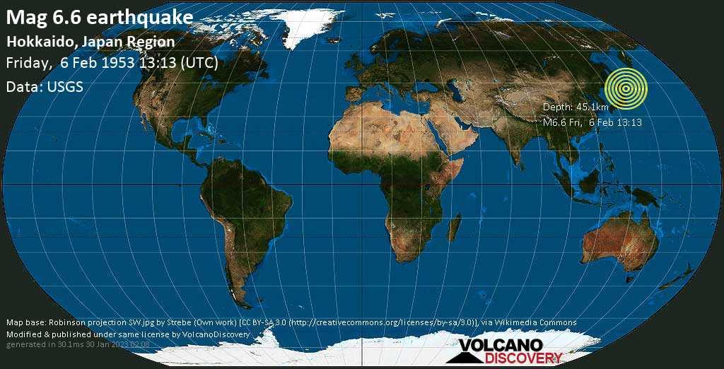 Strong mag. 6.6 earthquake  - North Pacific Ocean, 99 km south of Kushiro, Hokkaido, Japan, on Friday, 6 February 1953 at 13:13 (GMT)