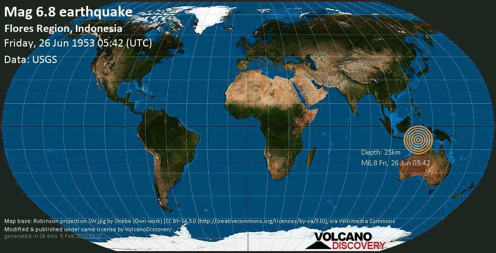 Very strong mag. 6.8 earthquake - Savu Sea, 43 km southwest of Pura Island, East Nusa Tenggara, Indonesia, on Friday, June 26, 1953 at 05:42 (GMT)