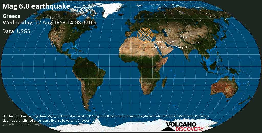 Very strong mag. 6.0 earthquake - Ionian Sea, 13 km east of Poros, Greece, on Wednesday, 12 August 1953 at 14:08 (GMT)