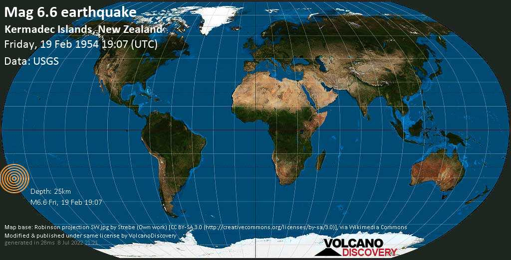 Strong mag. 6.6 earthquake  - South Pacific Ocean, 1416 km northeast of Wellington, Wellington City, New Zealand, on Friday, 19 February 1954 at 19:07 (GMT)