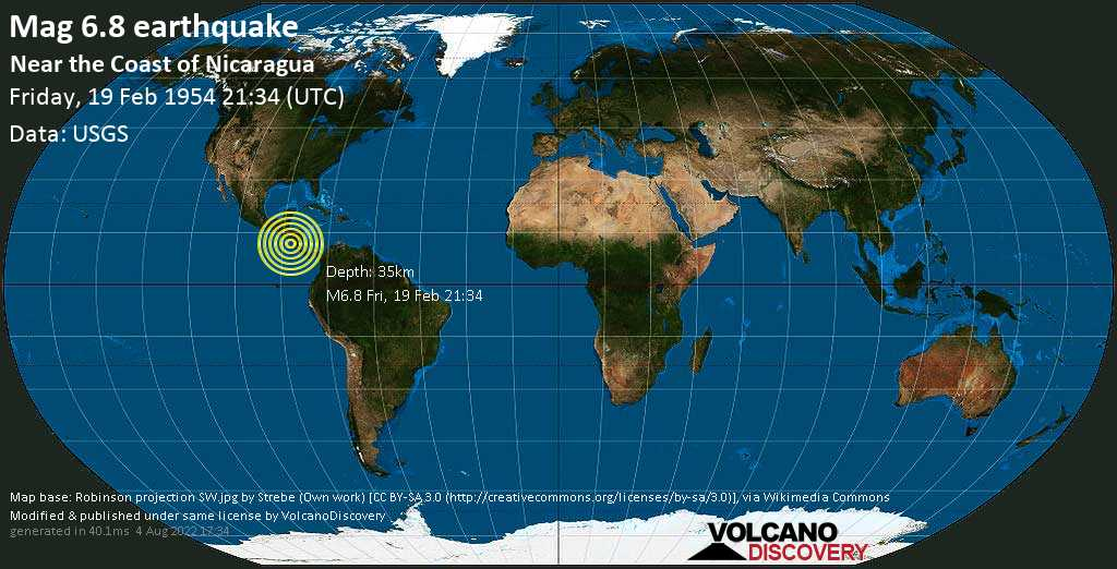 Strong mag. 6.8 earthquake  - North Pacific Ocean, 42 km west of San Rafael del Sur, Departamento de Managua, Nicaragua, on Friday, 19 February 1954 at 21:34 (GMT)