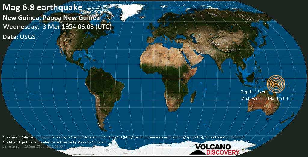 Major magnitude 6.8 earthquake - Southern Highlands Province, 35 km northwest of Tari, Papua New Guinea, on Wednesday, 3 March 1954 at 06:03 (GMT)