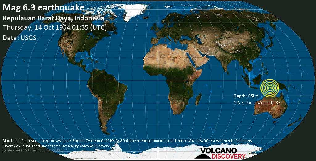 Strong mag. 6.3 earthquake  - Kepulauan Barat Daya, Indonesia on Thursday, 14 October 1954