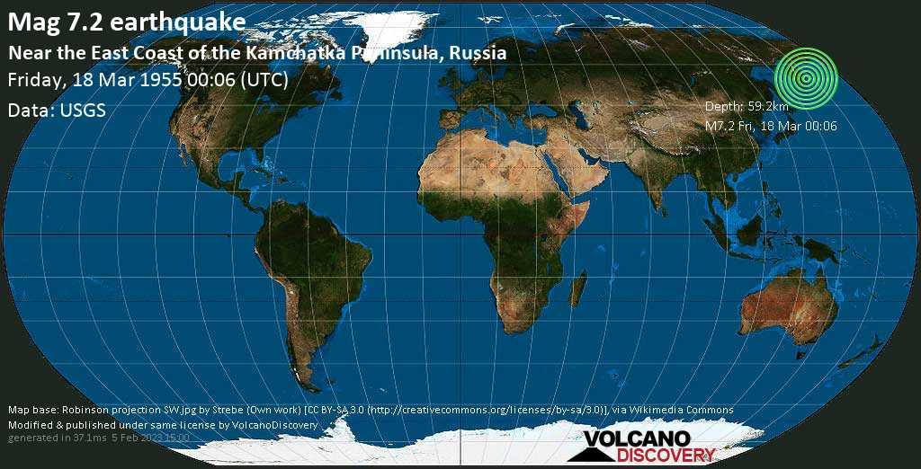 Major mag. 7.2 earthquake  - Near the East Coast of the Kamchatka Peninsula, Russia on Friday, 18 March 1955