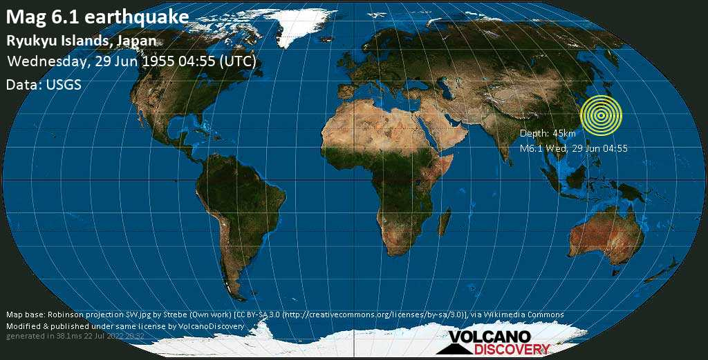 Strong mag. 6.1 earthquake  - Ryukyu Islands, Japan, on Wednesday, 29 June 1955 at 04:55 (GMT)