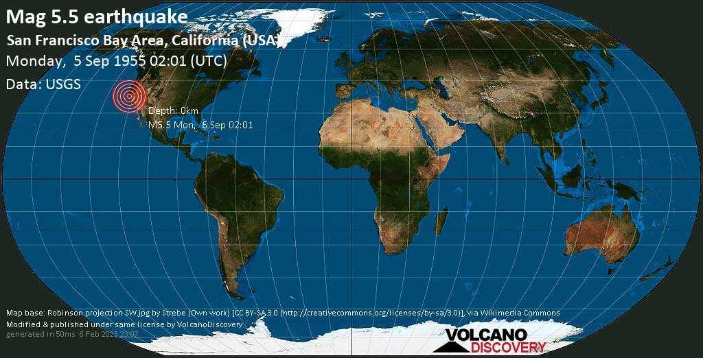 Strong mag. 5.5 earthquake - 2.4 mi east of Alum Rock, Santa Clara County, California, USA, on Monday, 5 September 1955 at 02:01 (GMT)