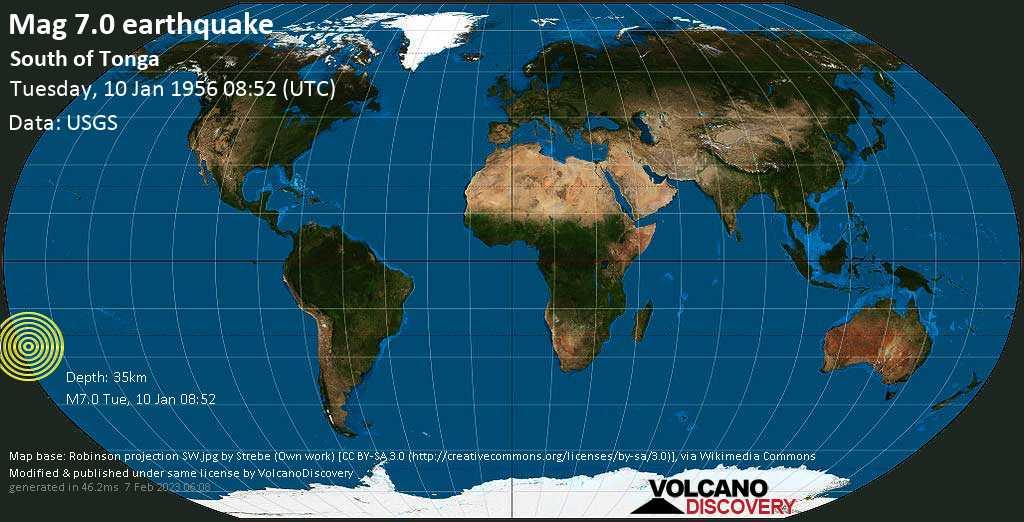 Major mag. 7.0 earthquake  - South of Tonga on Tuesday, 10 January 1956