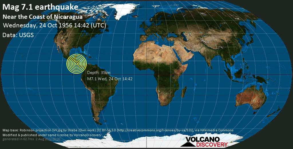 Major magnitude 7.1 earthquake - North Pacific Ocean, 13 km south of Masachapa, Nicaragua, on Wednesday, October 24, 1956 at 14:42 (GMT)