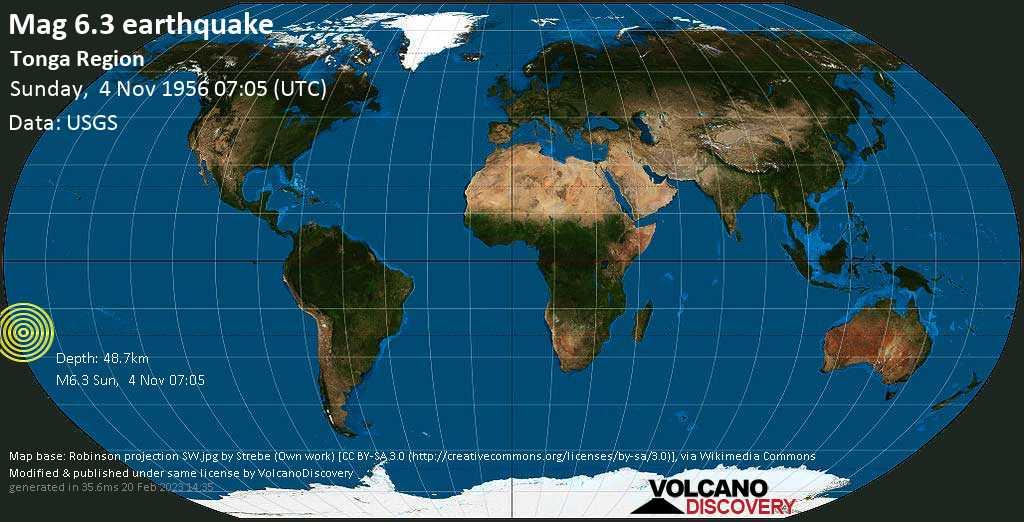 Strong mag. 6.3 earthquake - South Pacific Ocean, 135 km south of Nuku\'alofa, Tongatapu, on Sunday, 4 November 1956 at 07:05 (GMT)