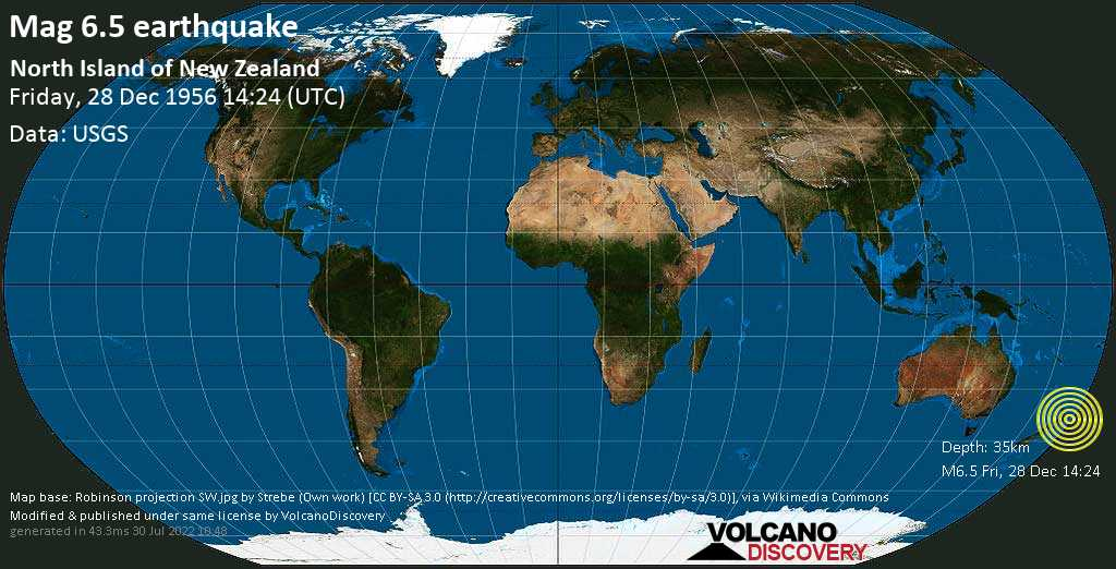 Very strong mag. 6.5 earthquake - 23 km northwest of Te Karaka, Gisborne District, New Zealand, on Friday, December 28, 1956 at 14:24 (GMT)