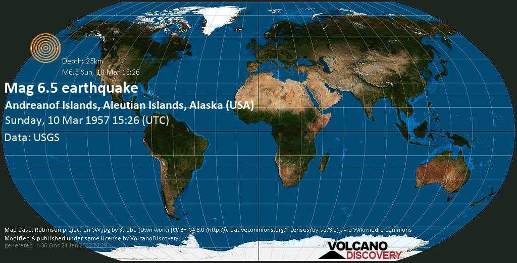 Very strong mag. 6.5 earthquake - Bering Sea, 48 mi southwest of Seguam Island, Aleutians West, Alaska, USA, on Sunday, 10 Mar 1957 3:26 pm (GMT +0)