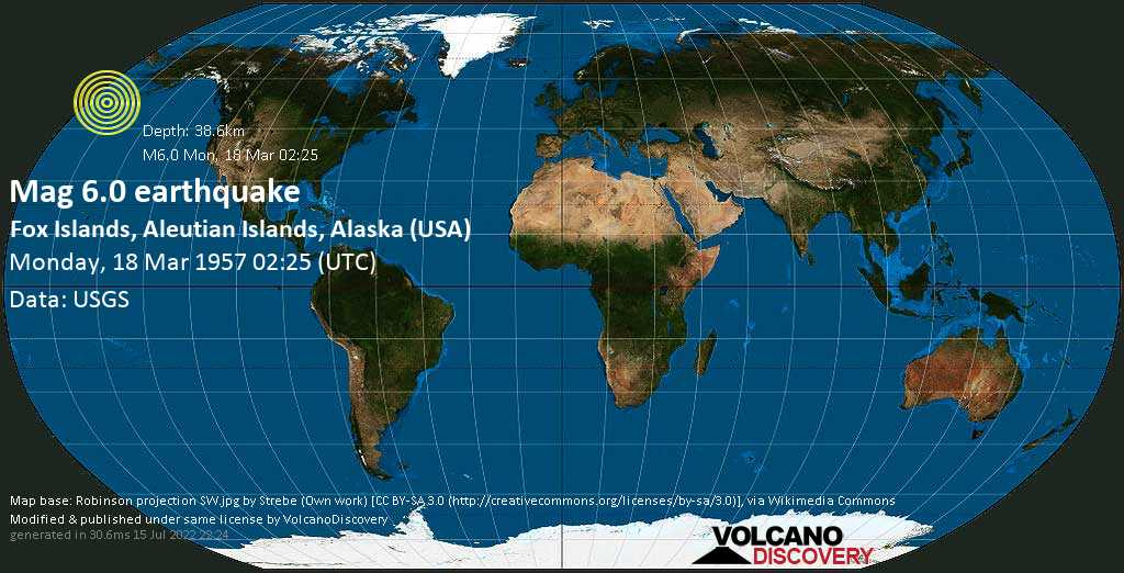 Strong mag. 6.0 earthquake - Bering Sea, 10.9 mi southeast of Amukta Island, Aleutians West County, Alaska, USA, on Monday, 18 March 1957 at 02:25 (GMT)