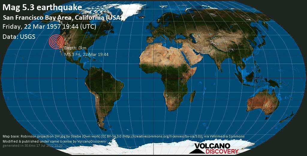 Moderate mag. 5.3 earthquake  - 2.9 mi southwest of Daly City, San Mateo County, California, USA, on Friday, 22 March 1957 at 19:44 (GMT)