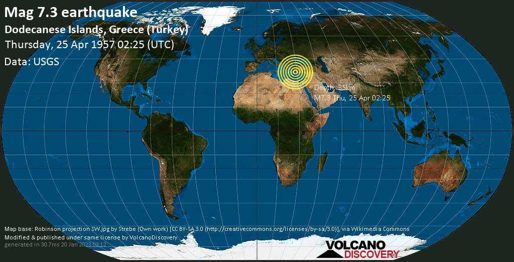 Major mag. 7.3 earthquake  - Dodecanese Islands, Greece (Turkey) on Thursday, 25 April 1957