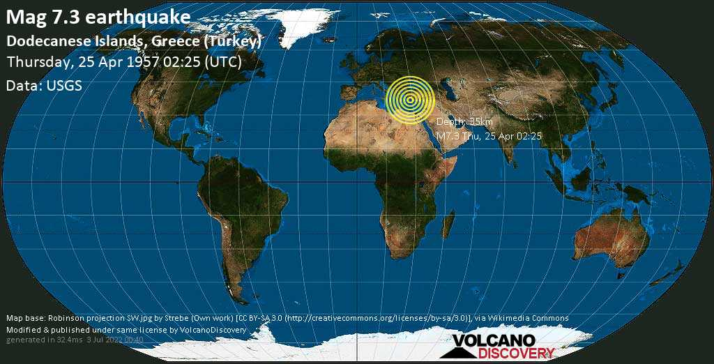 Major magnitude 7.3 earthquake - Eastern Mediterranean, 46 km southwest of Fethiye, Muğla, Turkey, on Thursday, April 25, 1957 at 02:25 (GMT)