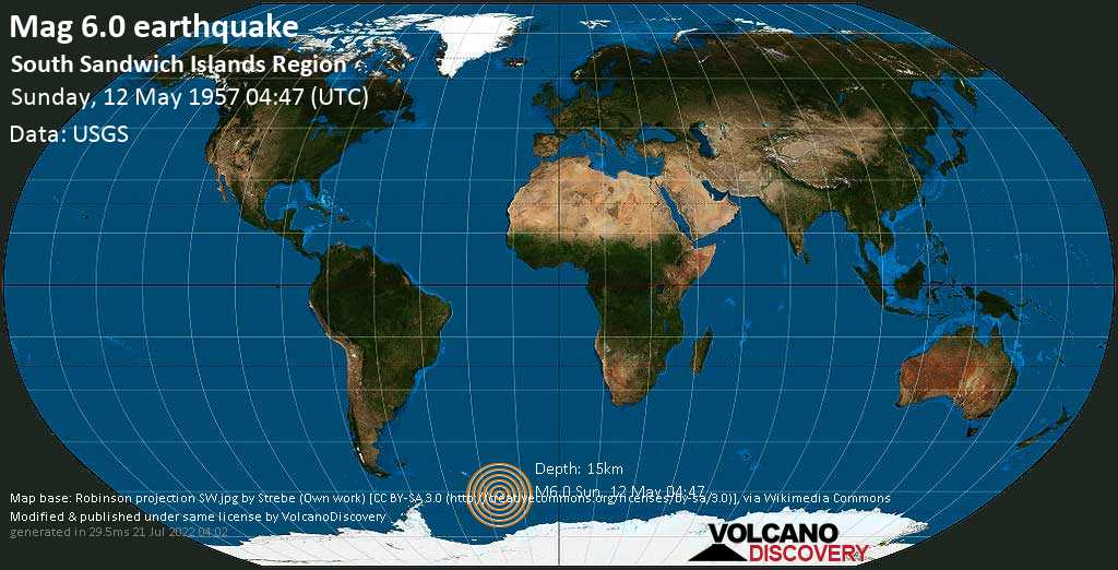 Strong mag. 6.0 earthquake  - South Atlantic Ocean, South Georgia & South Sandwich Islands, on Sunday, 12 May 1957 at 04:47 (GMT)
