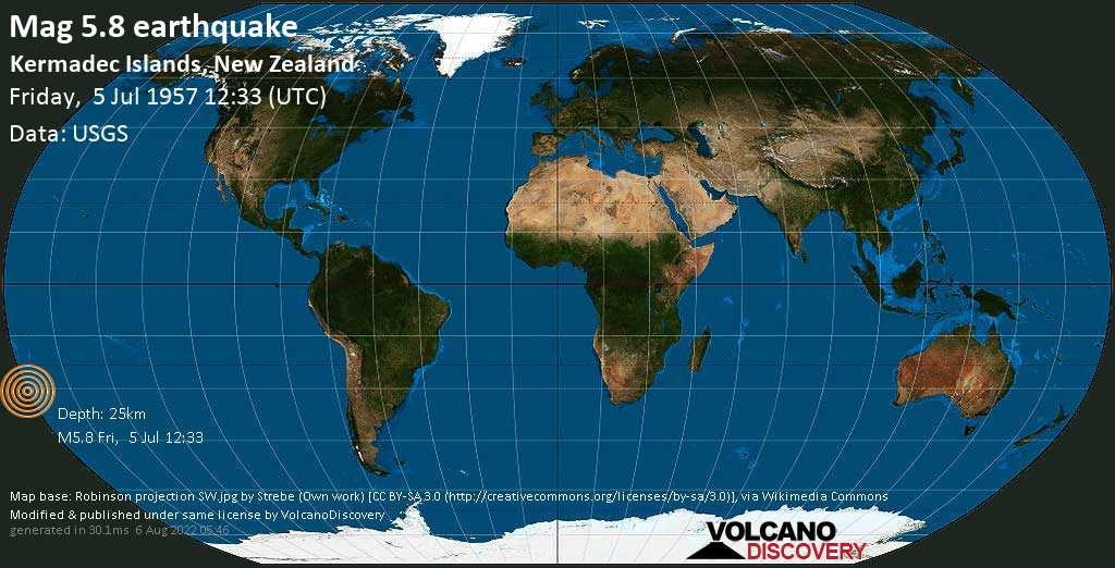 Strong mag. 5.8 earthquake - South Pacific Ocean, 1343 km northeast of Wellington, New Zealand, on Friday, 5 July 1957 at 12:33 (GMT)