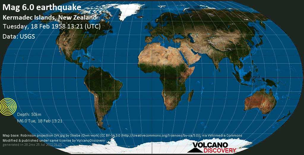Strong mag. 6.0 earthquake  - Kermadec Islands, New Zealand, on Tuesday, 18 February 1958 at 13:21 (GMT)
