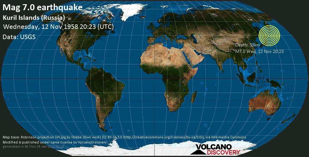 Major mag. 7.0 earthquake  - Kuril Islands (Russia) on Wednesday, 12 November 1958 at 20:23 (GMT)