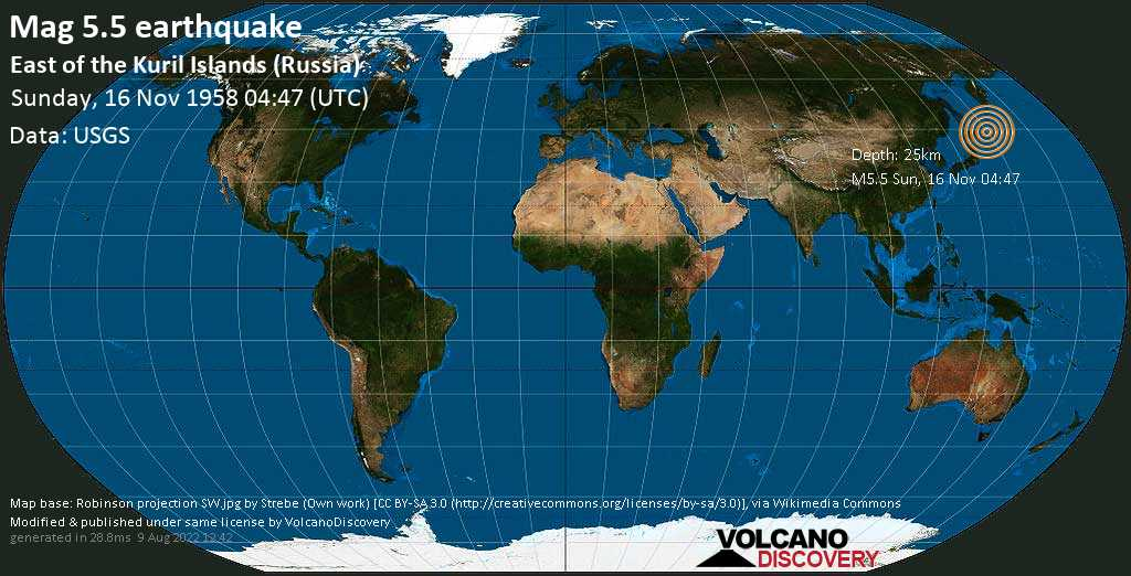 Moderate mag. 5.5 earthquake  - East of the Kuril Islands (Russia) on Sunday, 16 November 1958 at 04:47 (GMT)