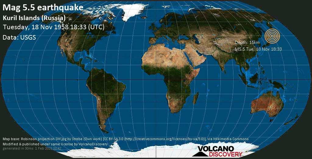 Moderate mag. 5.5 earthquake  - North Pacific Ocean, Russia, 297 km northeast of Nemuro, Hokkaido, Japan, on Tuesday, 18 November 1958 at 18:33 (GMT)