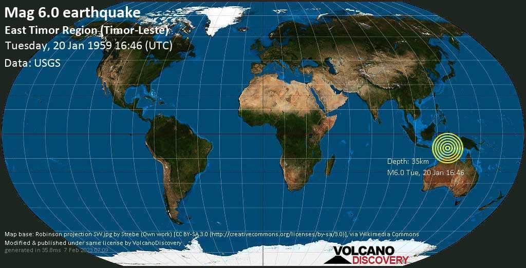 Strong mag. 6.0 earthquake  - East Timor Region (Timor-Leste) on Tuesday, 20 January 1959