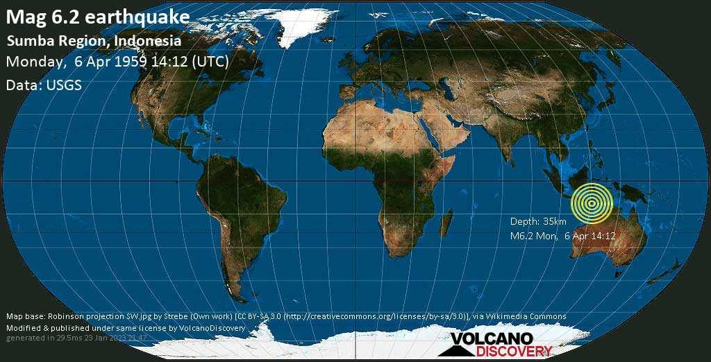 Strong mag. 6.2 earthquake  - 49 km south of Waingapu, East Nusa Tenggara, Indonesia, on Monday, 6 April 1959 at 14:12 (GMT)