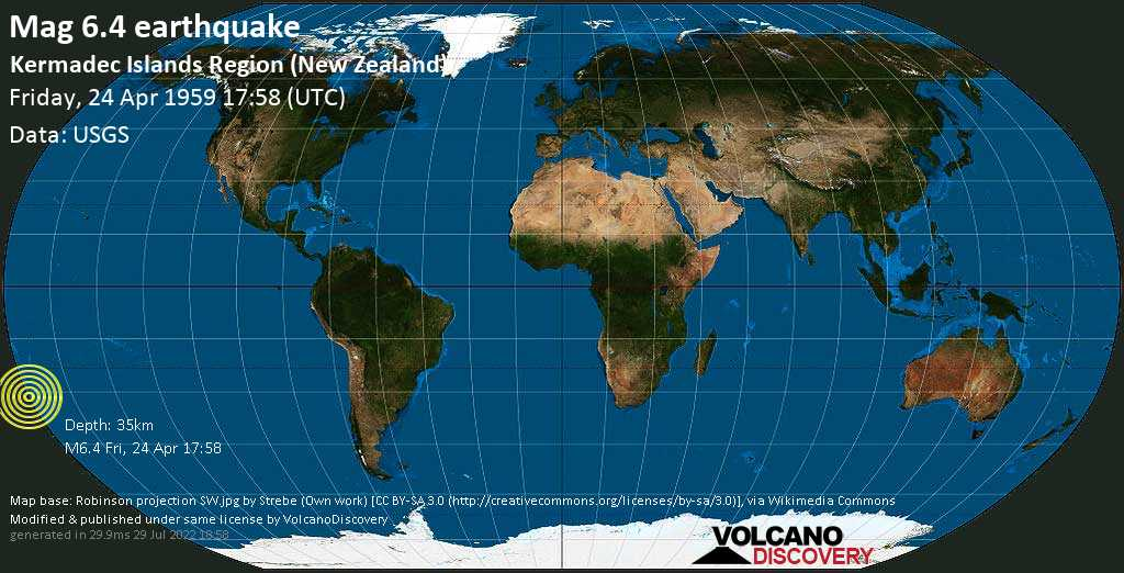 Strong mag. 6.4 earthquake  - Kermadec Islands Region (New Zealand) on Friday, 24 April 1959
