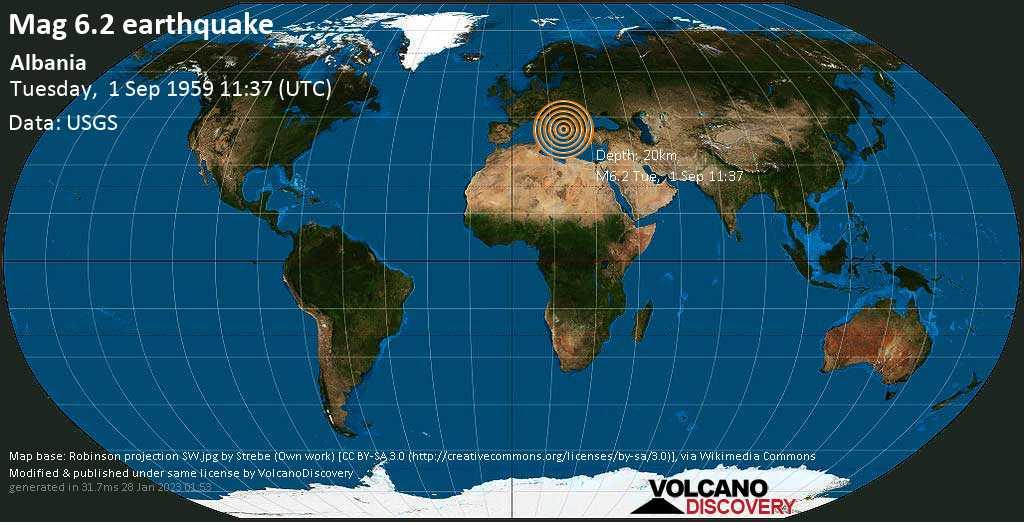 Very strong mag. 6.2 earthquake - 9.7 km east of Lushnje, Rrethi i Lushnjës, Qarku i Fierit, Albania, on Tuesday, September 1, 1959 at 11:37 (GMT)