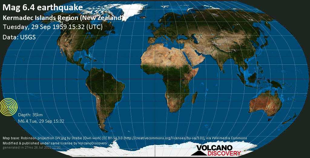 Strong mag. 6.4 earthquake  - Kermadec Islands Region (New Zealand) on Tuesday, 29 September 1959 at 15:32 (GMT)