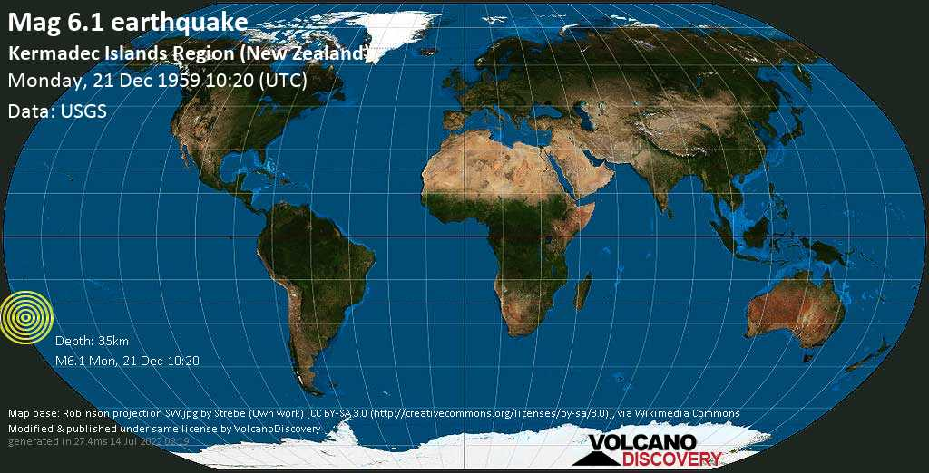 Strong mag. 6.1 earthquake  - Kermadec Islands Region (New Zealand) on Monday, 21 December 1959 at 10:20 (GMT)