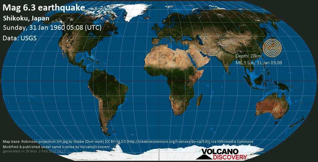Very strong mag. 6.3 earthquake - Philippines Sea, 70 km east of Muroto-misakicho, Muroto Shi, Kochi, Japan, on Sunday, 31 January 1960 at 05:08 (GMT)