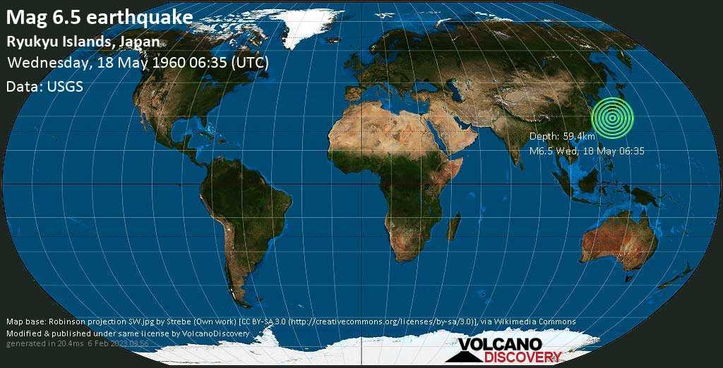 Strong mag. 6.5 earthquake - East China Sea, 57 km southeast of Suwanose-jima Island, Japan, on Wednesday, May 18, 1960 at 06:35 (GMT)