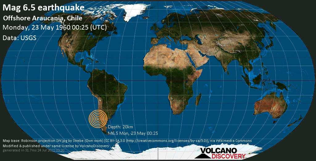 Very strong mag. 6.5 earthquake - South Pacific Ocean, 64 km west of Carahue, Provincia de Cautin, Araucania, Chile, on Monday, 23 May 1960 at 00:25 (GMT)