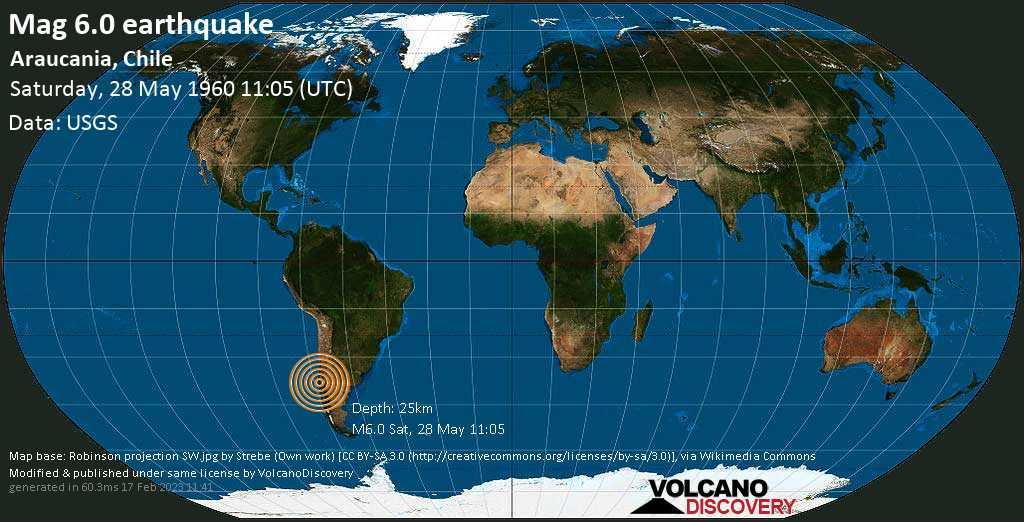 Strong mag. 6.0 earthquake - Araucania, Chile, on Saturday, 28 May 1960 at 11:05 (GMT)