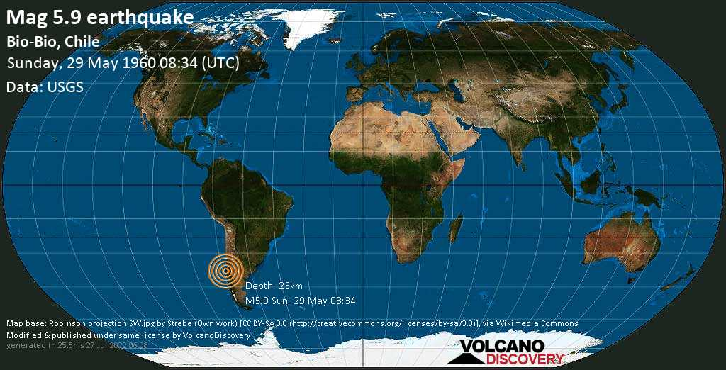 Strong mag. 5.9 earthquake - Arauco, 16 km east of Kanyete, Provincia de Arauco, Region del Biobio, Chile, on Sunday, 29 May 1960 at 08:34 (GMT)