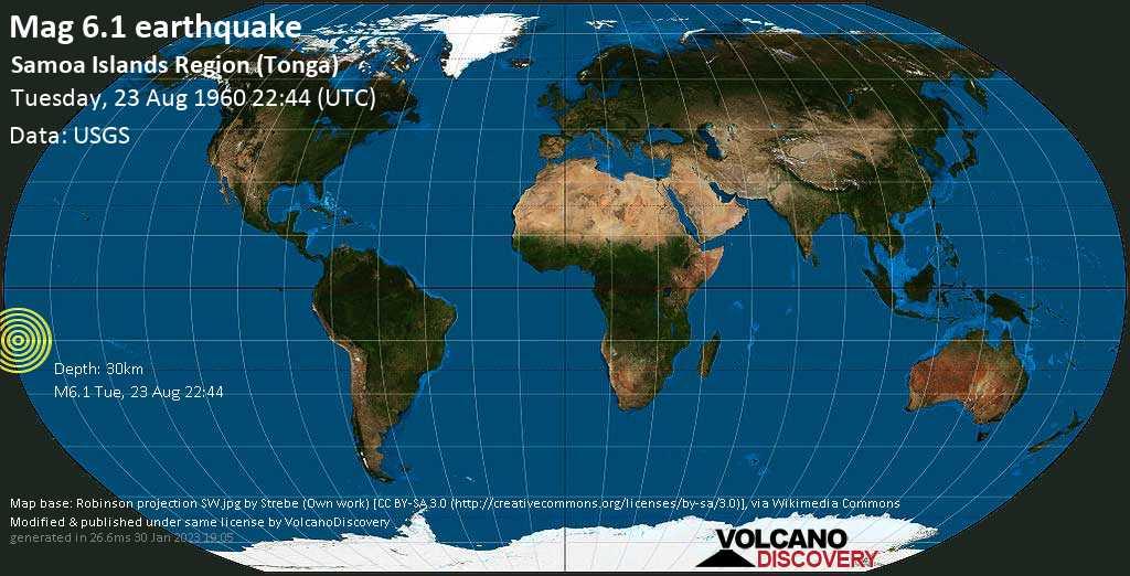 Strong mag. 6.1 earthquake  - Samoa Islands Region (Tonga) on Tuesday, 23 August 1960
