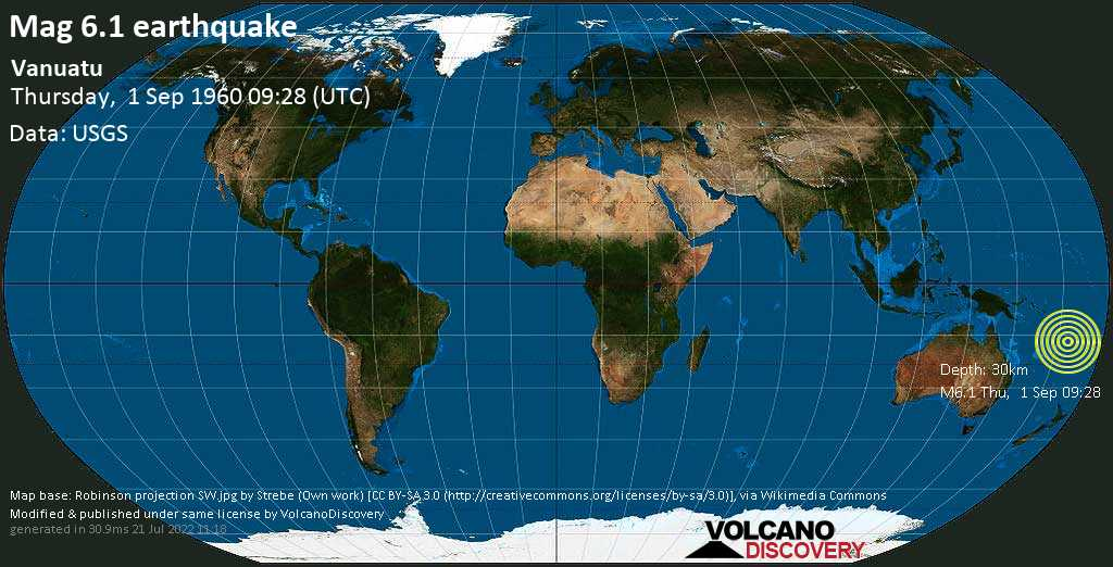 Strong mag. 6.1 earthquake - Coral Sea, 30 km south of Malakula Island, Malampa Province, Vanuatu, on Thursday, 1 September 1960 at 09:28 (GMT)