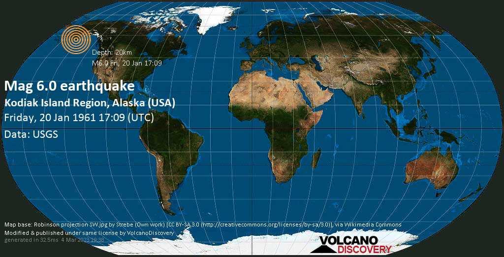 Very strong mag. 6.0 earthquake - Gulf of Alaska, 92 mi south of Kodiak, Alaska, USA, on Friday, 20 January 1961 at 17:09 (GMT)